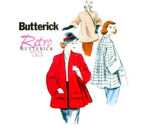1950s Swing Coat Sewing Pattern Uncut Retro Reissue Butterick B5716 Flared Clutch Coats Car Coats Jackets Cuffed Sleeves Evening Coat Jacket