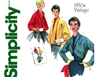 1950s Evening Jackets Pattern Uncut Simplicity 1319 4944 Shawl Collar Flared Swing Coats Crop Bolero Jackets Womens Vintage Sewing Pattern