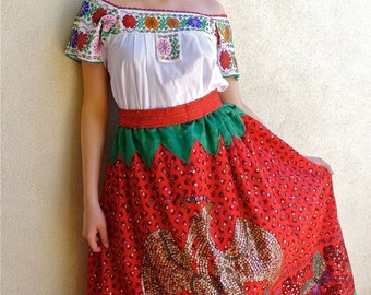 Collectors Mexican China Poblana costume - sequined skirt symbol of Mexico  beaded Puelba blouse  -Vintage costume Medium