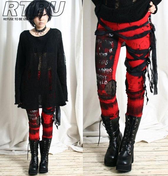 Ultra Long Goth Punk Rocker Grunge Mummy Bandage Raggedy Tie Dye Leggings/Pants