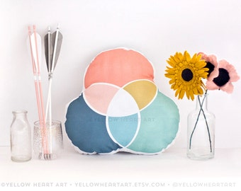 Color Wheel Pillow in Peach, Navy, Mint and Mustard by Yellow Heart Art