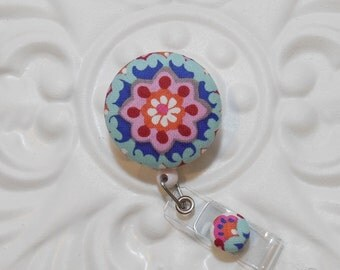 Retractable Badge Holder Id Reel  Fabric Covered Button Periwinkle Blue Light Blue And Pinkl