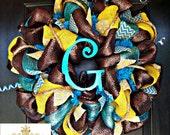 Turquoise and Yellow Monogram Wreath
