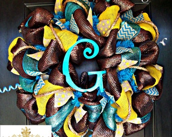 Turquoise and Yellow Monogram Wreath