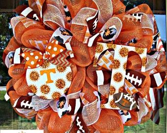 Tennessee Vols Mesh Wreath, Tennessee wreath, deco mesh wreath, football wreath, wreath, Tennessee Vols, door wreath, Vols decor