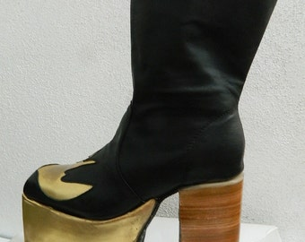 Glam Platform golden swallow genuine leather boots 70s style made to order