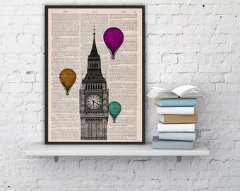 London Big Ben Tower  Multiple colored Balloon Ride Print on Vintage Book art vintage book page  BPTV015b