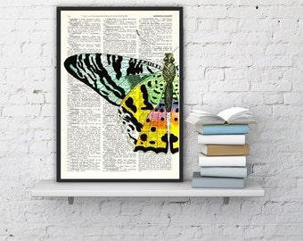 Butterfly detail Book print art - Hand painted Butterfly - Upcycled book page Art Dictionary book print BPBB102b