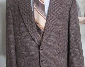 VINTAGE Mens TWEED JACKET  Mens Tweed Blazer, Mens Tweed Coat, Tweed Multi Colored Brown With Blue Pin Tag Size 44 Regular