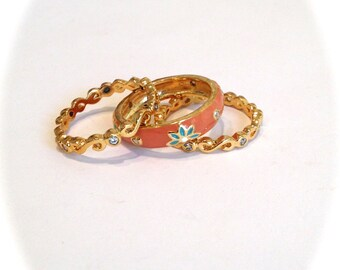 Vintage Stacking Ring Eternity Band Ring Coral and Turquoise Enamel White Stone Estate Ring Thin Rings Stackable Rings