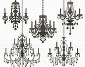 80% OFF SALE Chandelier Clipart Silhouettes, Silhouette Clipart, Chandelier Clip Art, Wedding Invitation Clipart, Commercial Use