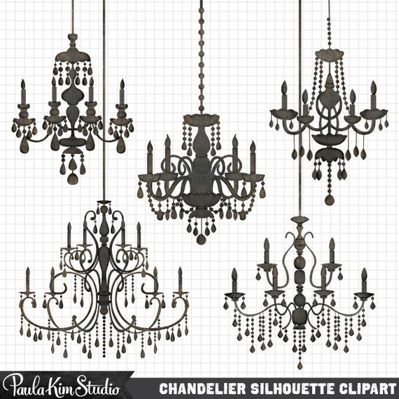 Chandelier Clipart Silhouettes, Silhouette Clipart, Chandelier Clip Art, Wedding Invitation Clipart, Commercial Use