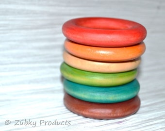 Zúbky Rainbow Six Pack - All Natural Wooden Teething Rings for Baby - Ecofriendly Baby and Mom Gift