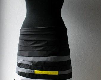 The cotton skirt  (black-gray-yellow)