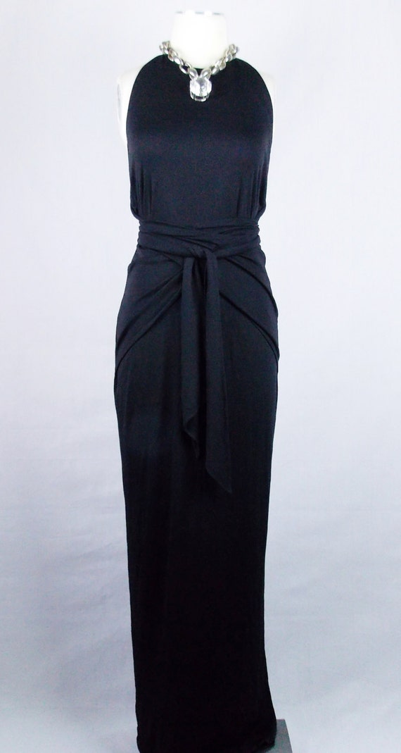 Vintage grecian gown for neiman marcus black halter draped maxi very