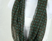 SALE Brown and Turquoise  Infinity Scarf with Small Geometric Squares and Circles Print