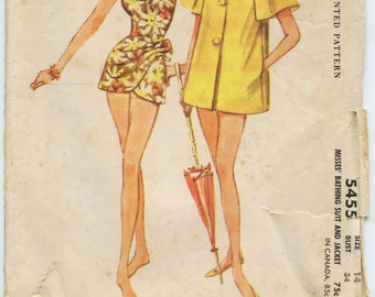 1960s McCall's 5455 Misses Sarong Style Bathing Suit and Jacket Vintage Sewing Pattern Bust 34