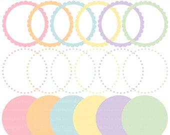 digital frames circles scalloped clip art clipart easter circle frames - Easter Picture Frames