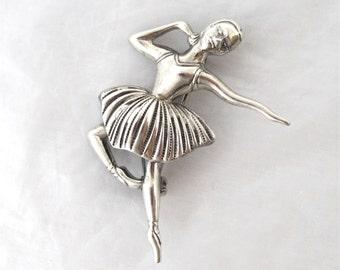 BEAU Sterling Ballet Brooch ballerina 925 dancer pin Excellent