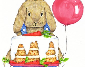 Happy Birthday Carrot Cake Card - Congratulations Card - Bunny Birthday Card