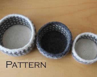 Crochet Nesting Baskets Felted Wool Bowls PATTERN - PDF 3525