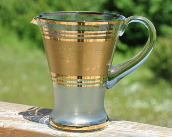 Vintage Pitcher - Music Notes -  Gold trim &  Frosted Glass