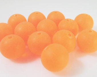 60 Vintage Lucite 8mm Matte Neon Orange Round Beads Bd1027