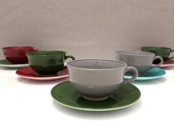 Hazel Atlas Opaque Moderntone Cups and Saucers, 5 settings