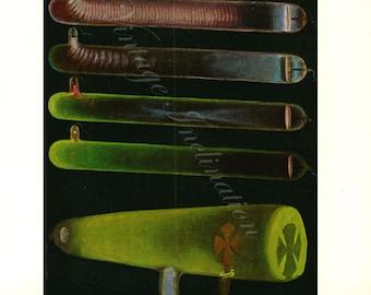 Antique Science Print, ELECTRIC LIGHT electricity Chart 1902 wall art vintage color lithograph illustration scientific