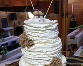 Burlap Flowers for wedding cake