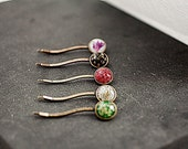 REAL FLOWER bobby pins - two unique bronze hairpins of your choice! Nature jewelry for her.