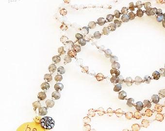 diamond pave charm necklace, labradorite beaded necklace, quartz necklace, tourmaline necklace, stamped gold charm necklace - be free