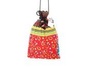 Flower Cross Over Bag Long Strap Hmong Cross Stitch Vintage Fabric Unique Thailand (BG905L.721)