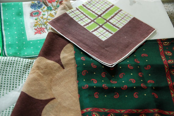 Reduced: Vintage 9 Assorted HANDKERCHIEFS in BROWN and GREEN, Large Hankies, Silk Hankie, Cotton and Linen Hankies - Perfect Gifts!