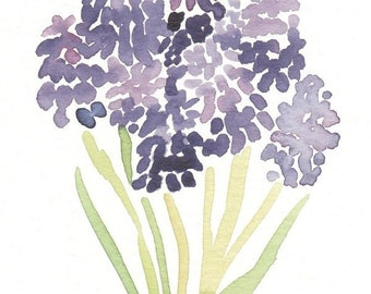 Purple Watercolor Flowers Print, 5x7,giclee print, fine art print, grape hyacinth, purple flowers, spring art, floral print, artwork