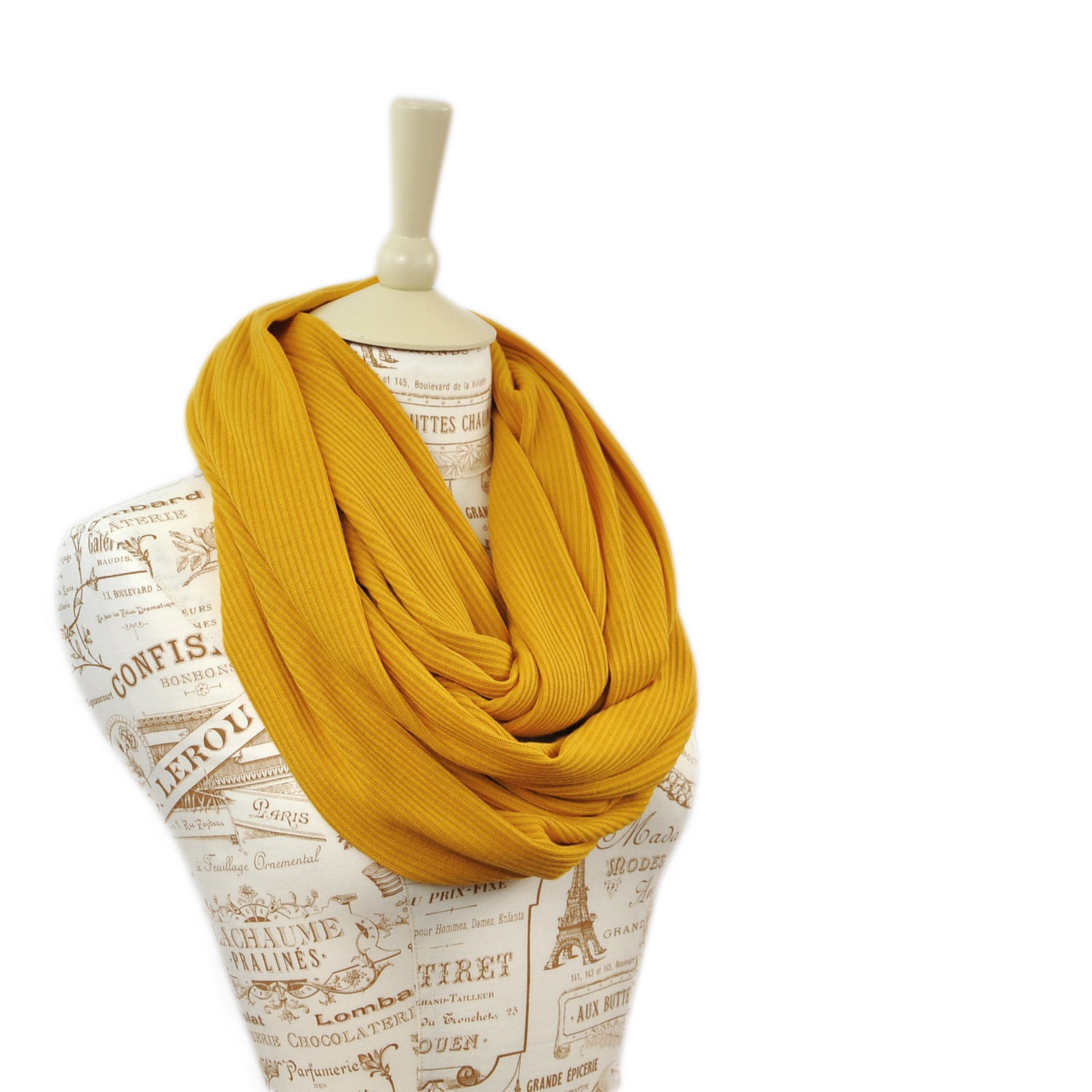 Mustard Infinity Scarf Sweater Ribbed Knit by ForgottenCotton