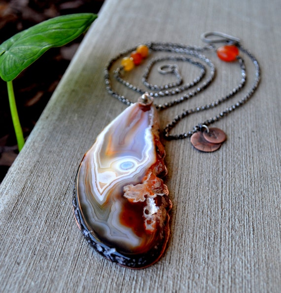 Large Agate Slice Necklace. Mixed Metal. Copper And Sterling