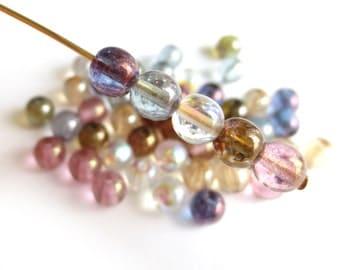 Czech Glass Round Beads - Translucent Luster Mix 6mm