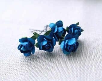 Something Blue, Teal Blue Roses Hair Pins (5 pcs), Bohemian Wedding Flowers, Bridal Hair Accessories, Flower Bobby Pins, Bridesmaid Clips