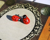 Ladybug Earrings -- Studs, Red and Black Ladybugs, Wooden, Silver