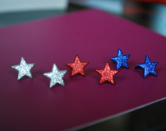 Tiny Star Earrings -- Studs, Tiny Star Studs, Red, Silver and Blue Stars, 4th of July Earrings, Choose Your Color!