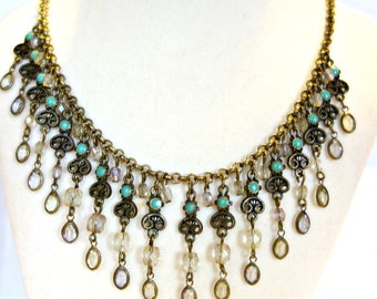 Vintage Drippy Fringe Necklace with Turquoise  and Crystal, Glass, Boho
