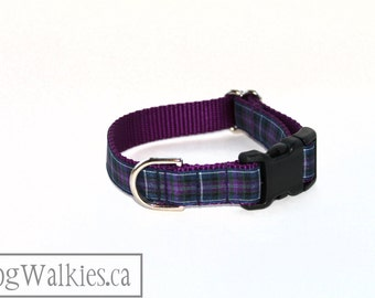 """Pride of Scotland Tartan Dog Collar / 3/4"""" (19mm) Wide / Purple Plaid / Martingale or Side Release / Choice of collar style and size"""