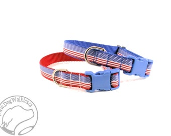"SALE 4th of July USA Flag Stripes Dog Collar - 3/4"" (19mm) Wide - Quick Release or Martingale Dog Collars - Choice of color, size and style"