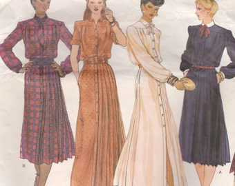 Basic Button Front Dress Pattern Vogue Basic Design 2208 Size 12