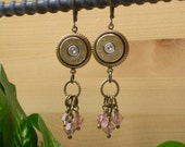 RESERVED ~ Bullet Jewelry ~ 44 Magnum Remington ~ Bullet Casing Earrings ~ Camo Pink Crystals