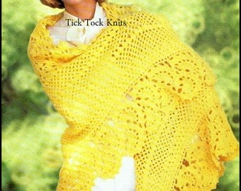 No.154 Crochet Pattern PDF Vintage Women's Fan Motif Shawl - Retro Crochet Pattern For Women - Instant Download