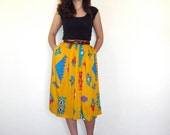 Vintage 80s Skirt - Bright Yellow & Blue Southwestern Print Full Spring Summer SM