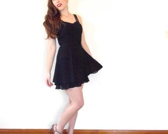Vintage 90s Cocktail Dress - Black LBD Flirty Mini Sheer Full Skirt Party SM