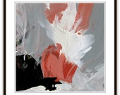 Abstract oil painting, Titled 'Quinn', coral, paynes gray, white and warm grays, women series of names